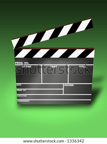 Clapper Board (3D image) - stock photo