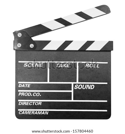 Clapper board isolated on white with clipping path included - stock photo