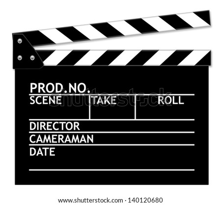 Clapper board on white background.