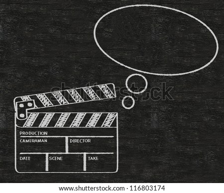clapper board with think bubble abstract written on blackboard background collection set. - stock photo