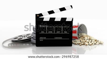 Clapper, film strip, popcorn - stock photo