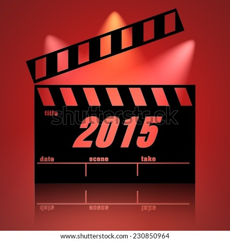 Clapperboard 2015 cinema background lights. - stock photo