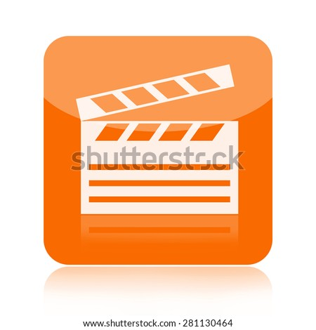Clapperboard icon isolated on white background - stock photo