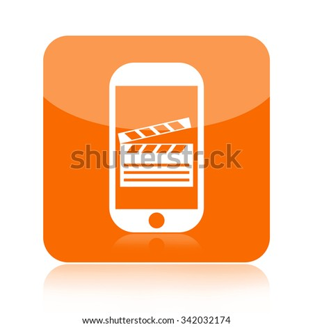 Clapperboard on a smartphone screen icon - stock photo