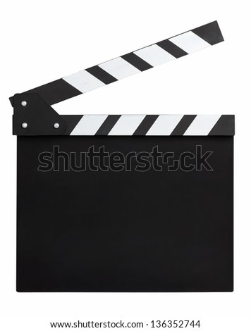 clapperboard on white background - stock photo