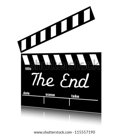 Clapperboard The End, flap clip art. - stock photo