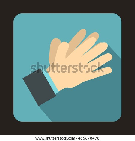 Clapping applauding hands icon in flat style on a baby blue background