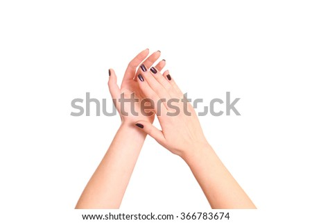 Clapping! Female hands clapping on white background. - stock photo