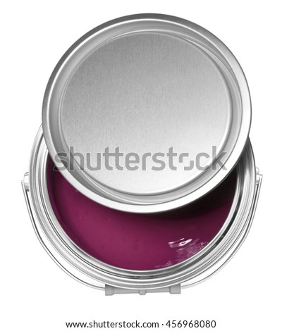 Claret red paint can and cover, isolated on white background