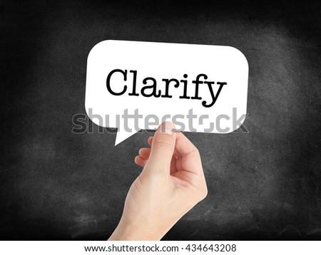 Clarify written on a speechbubble - stock photo