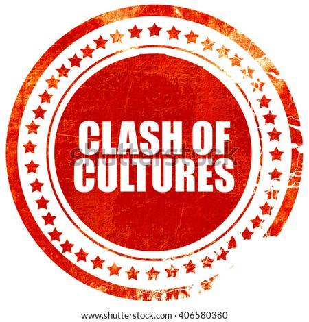 clash of cultures, grunge red rubber stamp with rough lines and  - stock photo