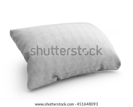 clasic white rectangular pillow 3d illustration on white background