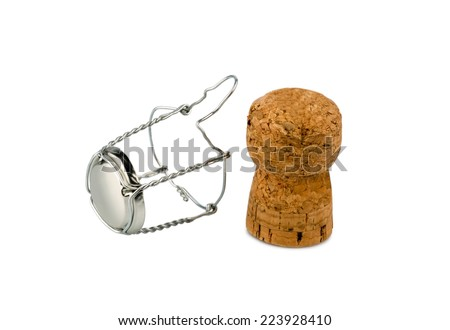 clasp and champagne corks, symbol photo for celebrations, enjoyment and alcohol use - stock photo