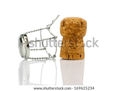 clasp and champagne corks, symbol photo for celebrations, enjoyment and consumption of alcohol - stock photo
