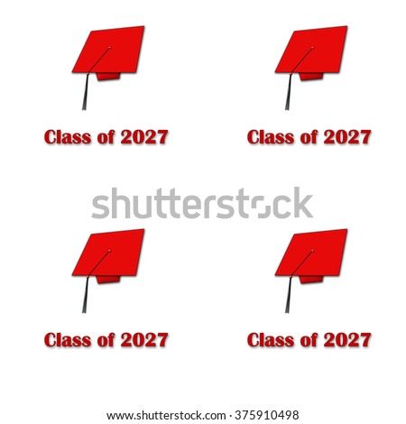 Class of 2027 Red on White Pattern Large