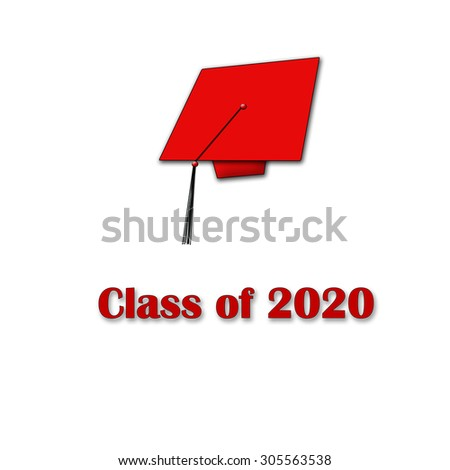 Class of 2020 Red on White Single Large