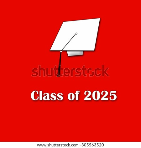 Class of 2025 White on Red Single Large