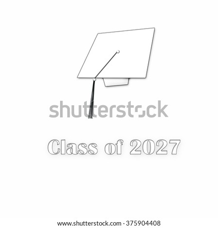 Class of 2027 White with Outlines Single Large
