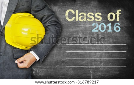 Class of 2016 ,writing on chalkboard