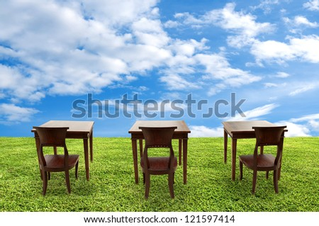 Class room student, Class outdoor - stock photo