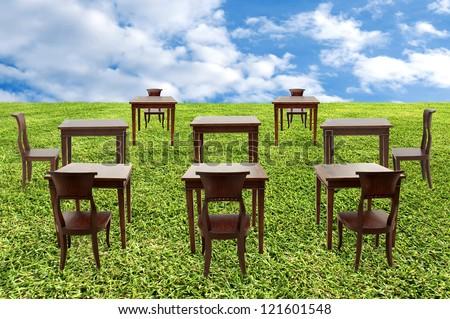 Class room student outdoor - stock photo