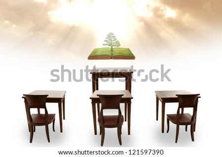 Class room student outdoor and global warming course - stock photo