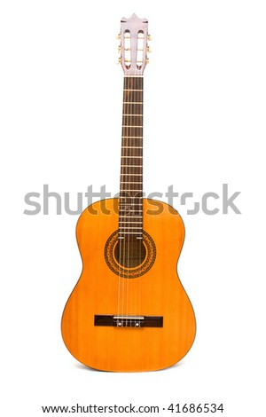 Classic acoustic guitar isolated on white