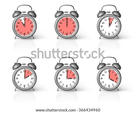 Classic Alarm Clock Ringing with Segments. Isolated on White Background