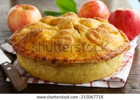 Classic American apple pie. - stock photo