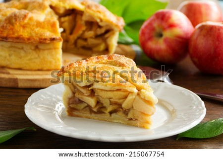 Classic American apple pie. - stock photo