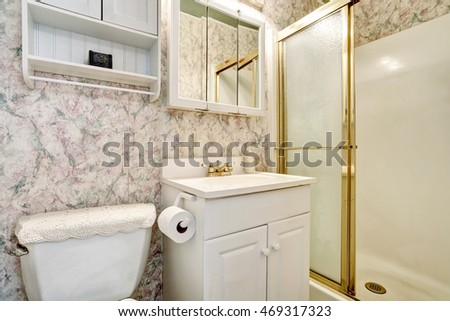 Classic American bathroom interior with vanity cabinet and toilet. Northwest, USA