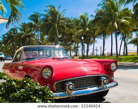 Classic American Car on South Beach, Miami. - stock photo