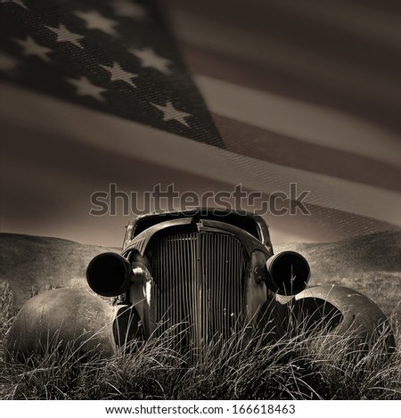 Classic american car with the US flag as a skyline