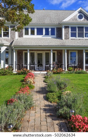 Classic American house and garden on Cape Cod.