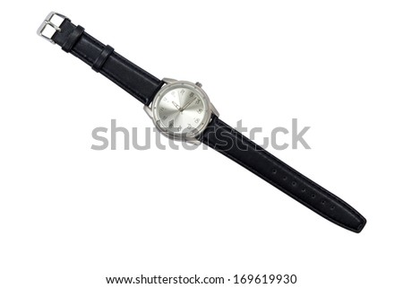 Classic Analog Men's Wrist Watch isolated over white background with clipping path - stock photo
