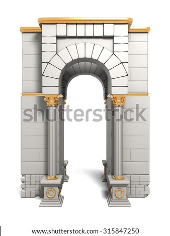 Classic ancient building exterior element, isolated. - stock photo