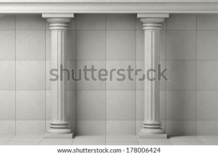 Classic Ancient Columns on a stone wall background - stock photo