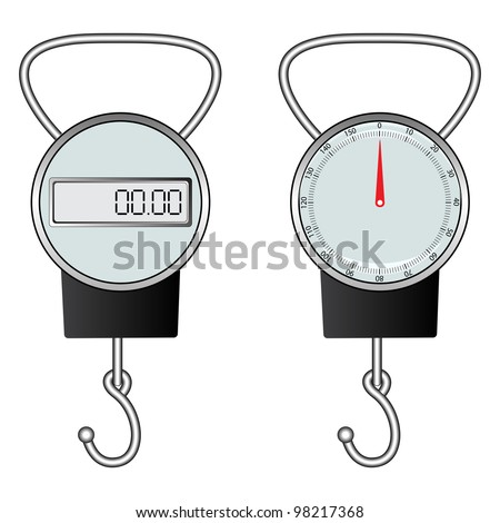 classic and digital hook scale against white background, abstract art illustration - stock photo