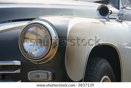 Classic and vintage cars - headlight and klaxon close-up 1950s - stock photo