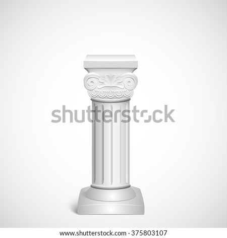Classic architectural detail  roman column close up on background old paper