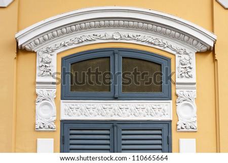 Classic art-nouveau stucco window decoration - stock photo