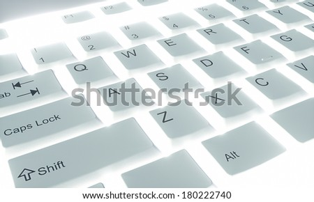 classic backlit keyboard, close-up view from above - stock photo