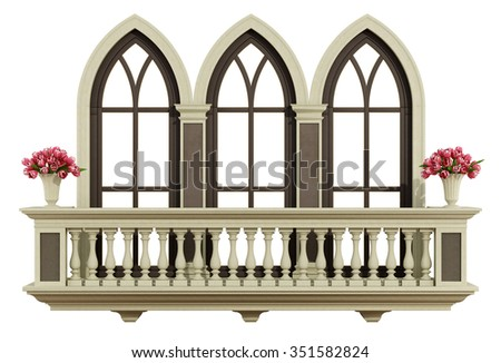 Classic balcony balustrade with triple lanced window isolated on white - 3d rendering - stock photo