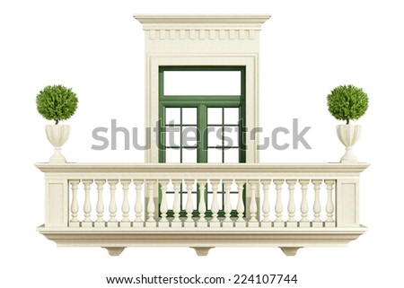 Classic balcony balustrade with window isolated on white - 3D Rendering - stock photo