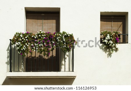 Classic balcony with flowers .