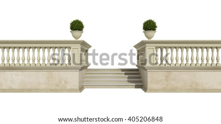 Classic balustrade with stair isolated on white - 3d rendering - stock photo