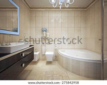 Classic bathroom interior. 3d render - stock photo