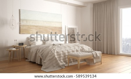 3d illustration interior bedroom minimalist style stock illustration 719797345 shutterstock - Beautiful modern scandinavian bedroom designs ...