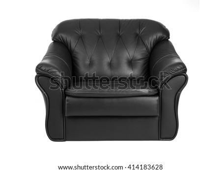 Classic  big black leather armchair isolated on white background with clipping path. - stock photo