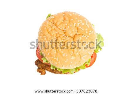 Classic Big hamburger isolate on over white background - stock photo